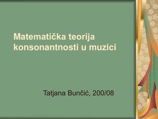 Ma tematička teorija konsonantnosti u muzici