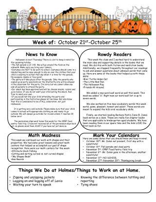 Week of:  October 21 st -October 25 th