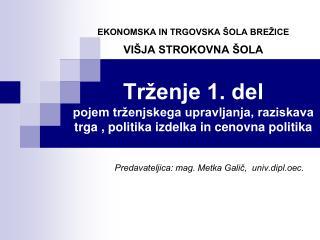 Predavateljica: mag. Metka Galič,  univ.dipl.oec.