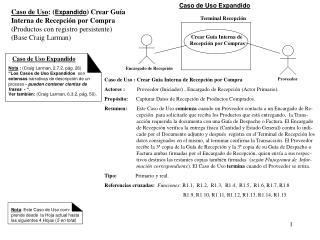 Caso de Uso : ( Expandido ) Crear Guía  Interna de Recepción por Compra