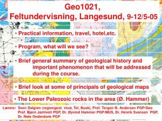 Geo1021,  Feltundervisning, Langesund,  9-12/5-05