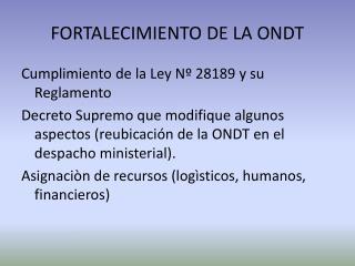 FORTALECIMIENTO DE LA ONDT
