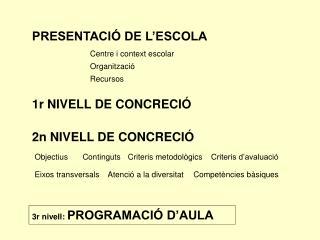 3r nivell:  PROGRAMACIÓ D'AULA