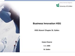 Business Innovation HSG HSG Alumni Chapter St. Gallen