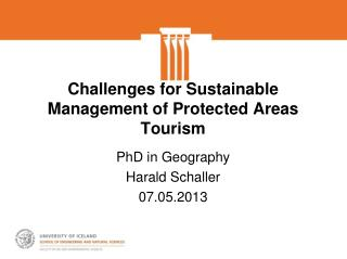Challenges for Sustainable Management of Protected Areas Tourism