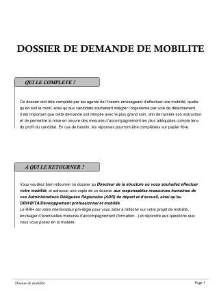 DOSSIER DE DEMANDE DE MOBILITE