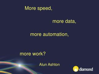 More speed, more data, more automation, more work? Alun Ashton