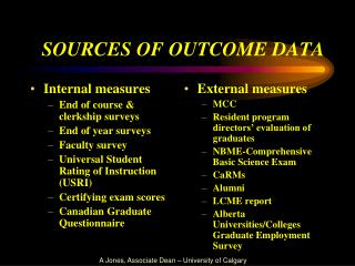 SOURCES OF OUTCOME DATA