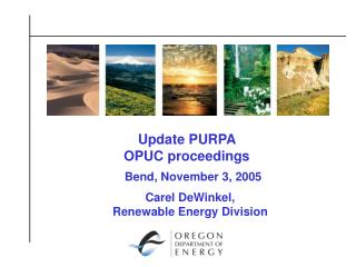 Update PURPA  OPUC proceedings