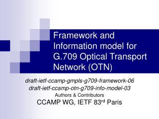 Framework and Information model for G.709 Optical Transport Network (OTN)