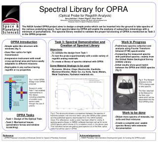 Spectral Library for OPRA  (Optical Probe for Regolith Analysis) 