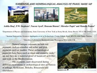 ELEMENTAL AND MINERALOGICAL ANALYSIS OF PUNIC MAKE-UP