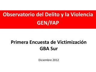 Primera Encuesta  de  Victimizaci ó n GBA Sur Diciembre  2012
