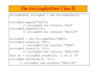 """StringBuffer stringBuf = new StringBuffer(); stringBuf.append(""""abc"""");"""