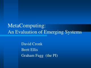 MetaComputing:  An Evaluation of Emerging Systems