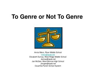 To Genre or Not To Genre
