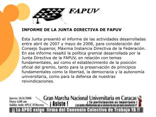 INFORME DE LA JUNTA DIRECTIVA DE FAPUV