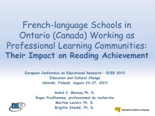 European Conference  on  Educational Research  – ECER 2010 Education  and Cultural Change