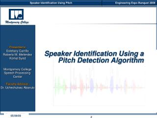 Speaker Identification Using a Pitch Detection Algorithm