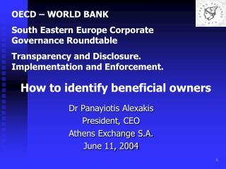 Dr Panayiotis Alexakis President, CEO  Athens Exchange S.A. June 11, 2004