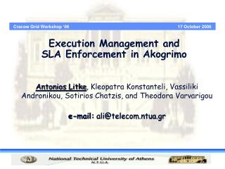 Execution Management and  SLA Enforcement in Akogrimo