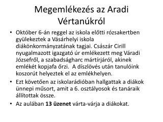 Megemlékezés az Aradi Vértanúkról