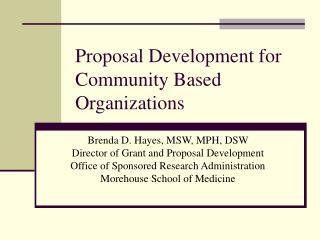 Proposal Development for Community Based Organizations