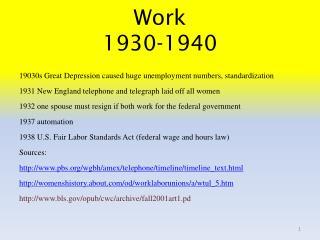 Work 1930-1940