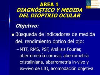 Objetivo : Búsqueda de indicadores de medida deL rendimiento óptico del ojo: