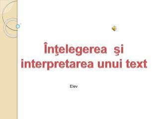 Î n ţ elegerea  şi interpretarea unui  text