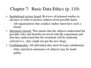 Chapter 7:  Basic Data Ethics (p. 110)