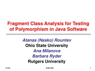 Fragment Class Analysis for Testing  of Polymorphism in Java Software