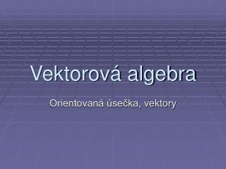 Vektorová algebra