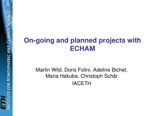 On-going and planned projects with ECHAM