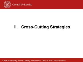 II.   Cross-Cutting Strategies
