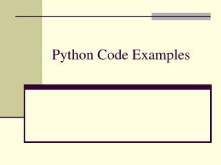 Python Code Examples