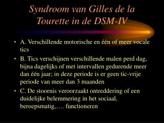 Syndroom van Gilles de la Tourette in de DSM-IV