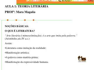 AULA 1: TEORIA LITERÁRIA PROFª: Mara Magaña NOÇÕES BÁSICAS: O QUE É LITERATURA?