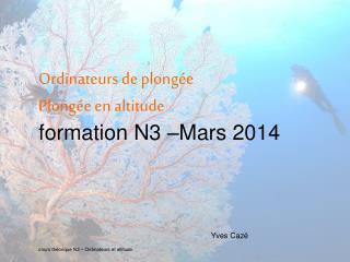 Ordinateurs de plong�e Plong�e en altitude formation N3 �Mars 2014