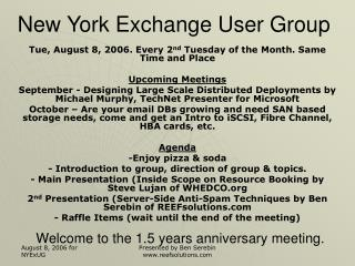 Welcome to the 1.5 years anniversary meeting.