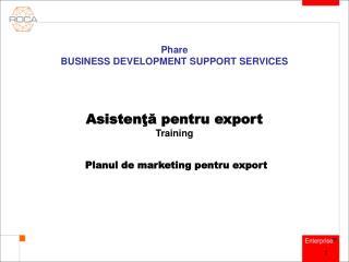 Asistenţă pentru export Training Planul de marketing pentru export