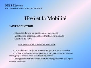 IPv6 et la Mobilit
