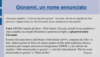 Giovanni, un nome annunciato