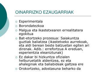 OINARRIZKO EZAUGARRIAK