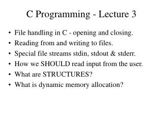 C Programming - Lecture 3