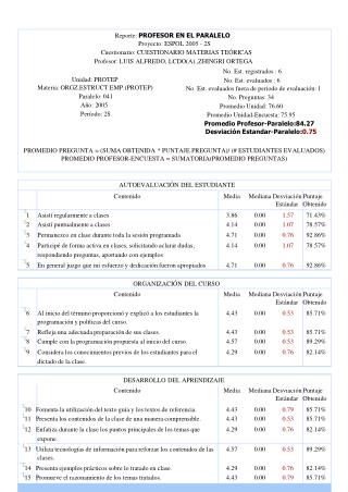 Reporte:  PROFESOR EN EL PARALELO Proyecto: ESPOL 2005 - 2S