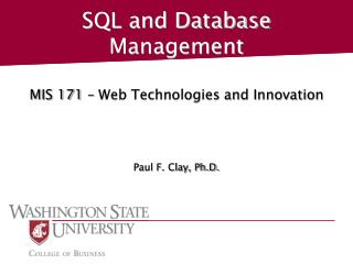 SQL and Database Management