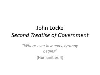 John Locke Second Treatise of Government