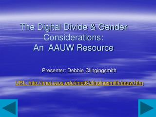 The Digital Divide & Gender Considerations:  An  AAUW Resource