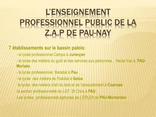 L�ENSEIGNEMENT PROFESSIONNEL PUBLIC DE LA Z.A.P DE PAU-NAY